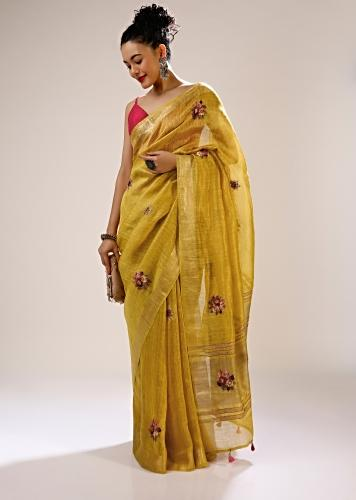 Ceylon Yellow Saree In Tussar Silk With Bud Hand Embroidered Floral Motifs In Repeat Pattern And Running Stitch Embroidery Online - Kalki Fashion