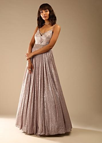 Champagne Gown In Sequins Fabric With Cut Dana Embellished Sheer Net On The Waist And Criss Cross Straps On The Neckline Online - Kalki Fashion