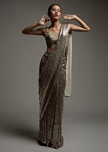 Champagne Pink Ready Pleated Saree In Sequins Fabric With A Cut Dana And Moti Embroidered Crop Top Online - Kalki Fashion