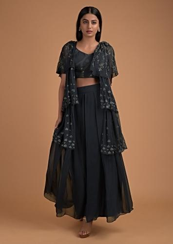 Charcoal Grey Palazzo Suit With A Matching Jacket In Layered Patter Having Floral Embroidery Online - Kalki Fashion