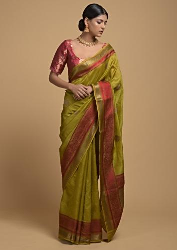 Chartreuse Green Pure Handloom Saree In Tussar Silk With Woven Leaf Shaped Buttis Buttis Online - Kalki Fashion