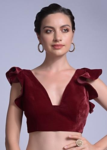 Cherry Red Blouse In Velvet With A Trapeze Neck And Ruffle Sleeves Online - Kalki Fashion