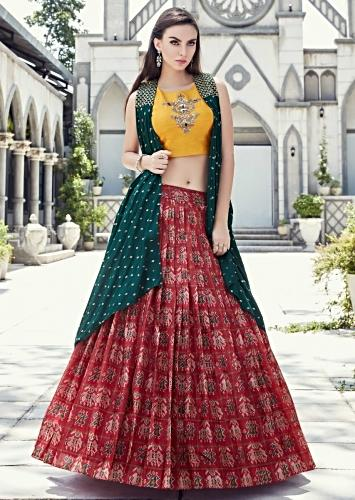 4cabcbed34d3 Cherry Red Lehenga In Ikkat Motif Print Matched With Yellow Crop Top Blouse  And Rama Green