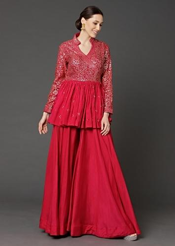 Cherry Red Peplum Top And Flared Palazzo Pants With Sequins Work Online - Kalki Fashion