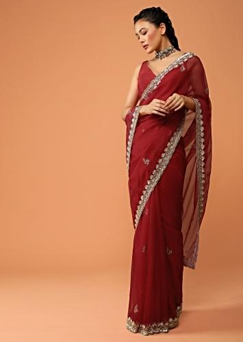 Cherry Red Saree In Organza With Sequins And Cut Dana Embroidered Floral Buttis And Border Design Online - Kalki Fashion