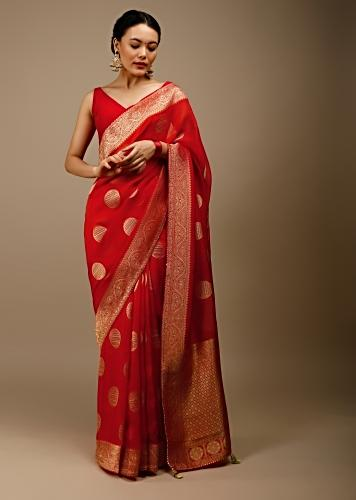 Chinese Red And Orange Shaded Saree In Organza With Brocade Woven Round Ethnic Buttis And Geometric Pallu Design Online - Kalki Fashion