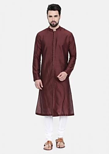 Chocolate Brown Kurta And Churidar Set In Cotton Silk With Subtle Green Hand Embroidery On The Placket By Mayank Modi