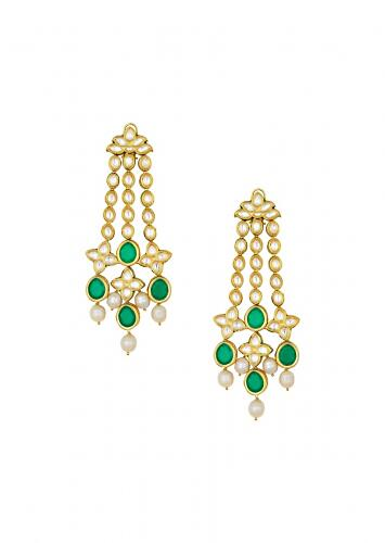 Classic Kundan Polki Gold Enamelled Earrings Studded With Baroque Pearls And Glimmering Quartz Online - Joules By Radhika