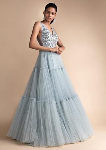 Aditi Bhatia in Kalki Powder Blue Gown In Net With Embellished Bodice And Tiered Bottom