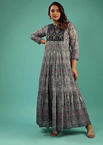 Cloud Grey Cotton Silk Tunic With Embroidery On The Bodice And Printed Floral And Bird Motifs Online - Kalki Fashion