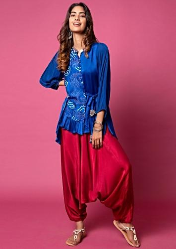 Cobalt Blue Frill Shirt With Bandhani Printed Paisley Motifs, Puff Sleeves And Paired With Scarlet Red Cowl Pants Online - Kalki Fashion
