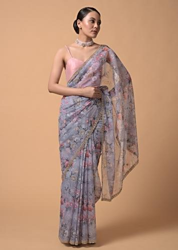 Coin Grey Saree In Organza With Floral Print And Moti Accents Online - Kalki Fashion
