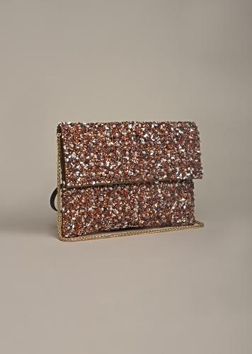 Copper Envelop Clutch Embellished With Sequins And Pearls By Solasta