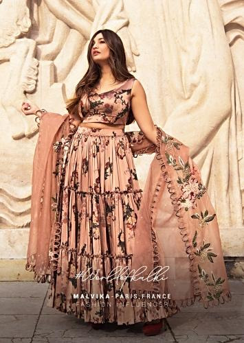Copper Peach Tiered Skirt And Crop Top In Milano With Floral Print And Embroidered Organza Dupatta Online - Kalki Fashion