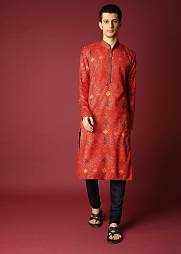 Coral Kurta Set With Jaal Print All Over Online - Kalki Fashion
