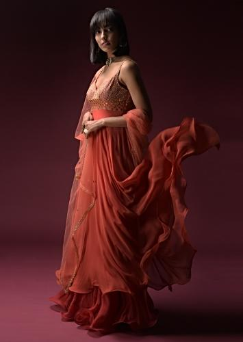 Coral Anarkali Suit With Geometric Shaped Mirror Accented Bodice And Fun Layered Hemline Online - Kalki Fashion