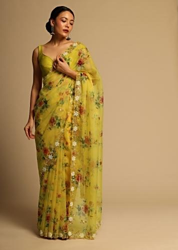 Corn Yellow Saree In Organza With Floral Print All Over And Moti Embroidered Border Along With Unstitched Blouse Online - Kalki Fashion