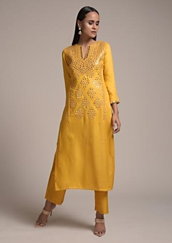 Corn Yellow Straight Cut Suit In Cotton Blend With Elaborate Abla Work In The Front Online - Kalki Fashion