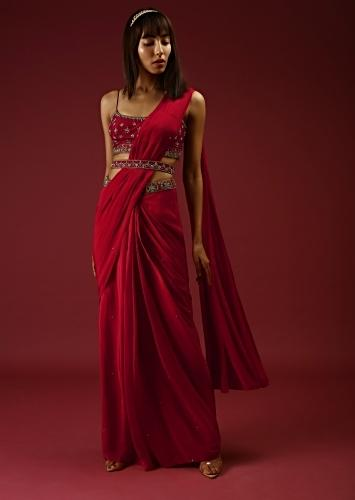 Cranberry Red Ready Pleated Saree With A Multicolored Hand Embroidered Blouse And Belt Online - Kalki Fashion