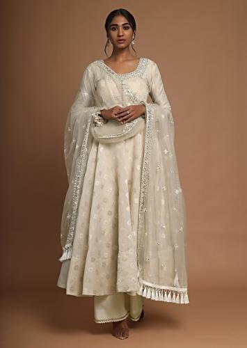 Cream Anarkali Suit With Mirror Embroidered Neckline And Palazzo Pants Online - Kalki Fashion