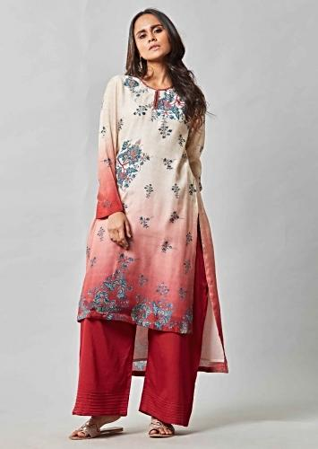 Cream And Brick Red Ombre Suit In Printed Cotton With Brick Red Palazzo Pants Online - Kalki Fashion