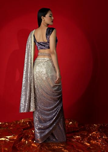 Cream And Lavender Shaded Ready Pleated Saree In Sequins Fabric With Grape Purple Velvet Blouse And Embroidered Belt Online - Kalki Fashion