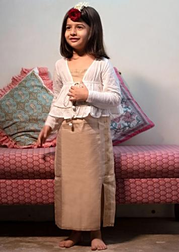 Cream Beige Slip Dress With Adjustable Tie Up And Angrakha Jacket Love The World Today