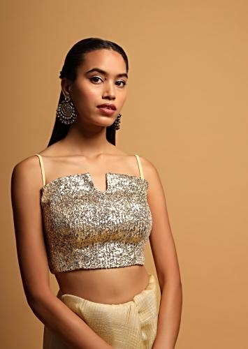Cream Gold Crop Top In Sequins Fabric Having A Curved Neckline With Notch In The Centre Online - Kalki Fashion