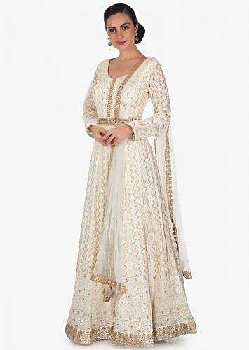 f9bb4a240d Ivory anarkali suit in chiffon with thread work and sequin work only on  Kalki