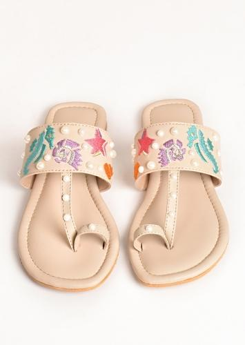 Cream Kolhapuri Flats With Marine Life Embroidery And Pearls By Sole House