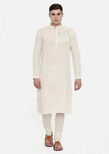 Cream Kurta In Cotton With Subtle Embroidery Details On The Shoulder By Mayank Modi