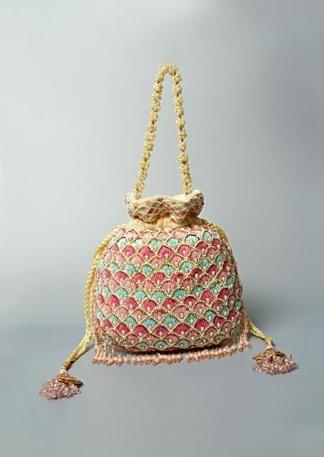 Cream Potli Bag In Velvet Adorned With Multicolored Thread And Beads Embroidered Scallop Design By Shubham