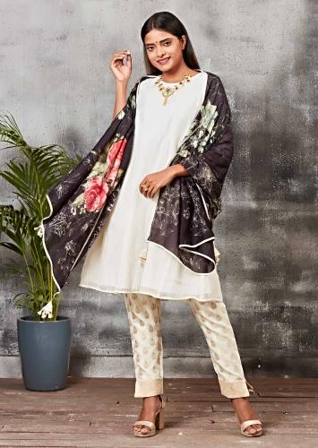 Cream White A Line Suit With Brocade Silk Cigarette Pants And Floral Printed Dupatta Online - Kalki Fashion