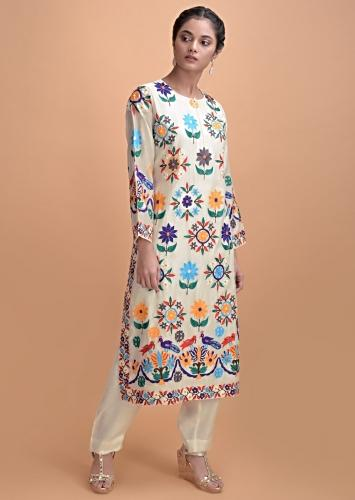 Cream White Pink Straight Cut Suit With Multi Colored Thread Embroidery On Floral Motifs Online - Kalki Fashion
