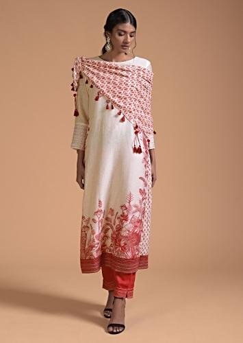 Cream White Straight Cut Suit In Cotton With Red Botanical Print Online - Kalki Fashion