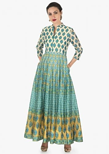 Cream Long Dress In Cotton Silk Floral And Jaal Butti All Over Online - Kalki Fashion