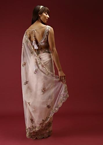 Cream Saree In Organza With Multi Colored Hand Embroidered Buttis And A Blouse With Front Cut Out Online - Kalki Fashion