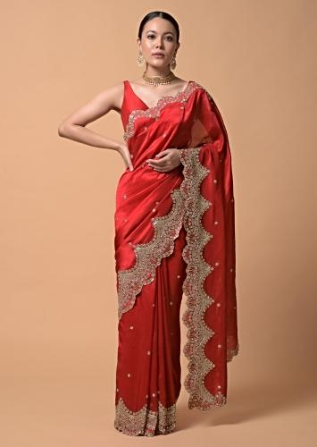 Crimson Red Saree In Dupion Silk With Heavy Zari Embroidered Scalloped Border And Floral Buttis Online - Kalki Fashion