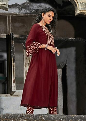 Currant Red A Line Suit In Cotton Enhanced With Batik Print And Zari Work Online - Kalki Fashion