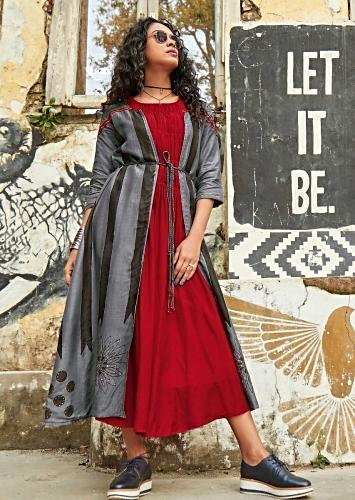 Currant Red A Line Tunic Dress And Grey Jacket With Block Print Online - Kalki Fashion