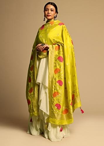 Cyber Yellow Banarasi Dupatta With Brocade Woven Floral Butti Design And Colorful Floral Border Online - Kalki Fashion