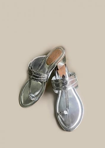 Silver Kolhapuris With Block Heel And Braded Design By Sole House