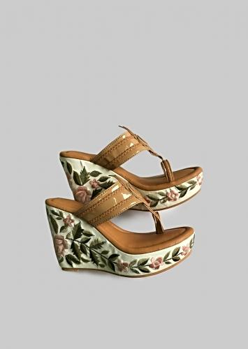Nude Designer Kolhapuris With Resham Embroidered Floral Design On The Wedge Heel By Soul House