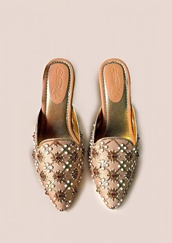 Gold Mules With Nakshi Embroidery And 3 Inch Block Heel By Sole House