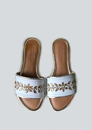 White Slider Flats With Gotta Patti Work And Pearl Accents Online By Sole House