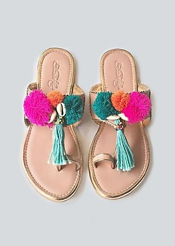 Baby Pink Kolhapuri Flats With Accents Of Multicoloured Pompoms, Shells And Tassels Online By Sole House