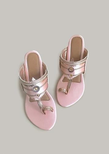 Baby Pink Kolhapuri Heels In Satin With Rose Gold Braiding And Button Details By Sole House