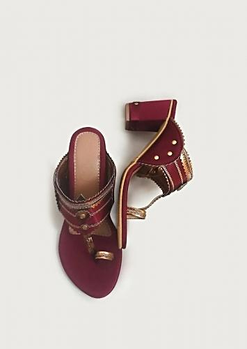 Gem Stone Maroon Kolhapuri Heels In Satin With Rose Gold Braiding And Button Details By Sole House