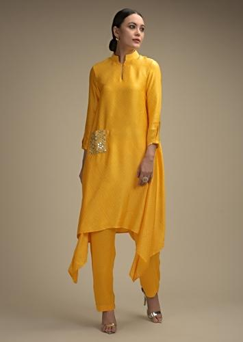 Daffodil Yellow A Line Suit In Satin Crepe With Bandhani Print And Abla Embellished Pocket  Online - Kalki Fashion