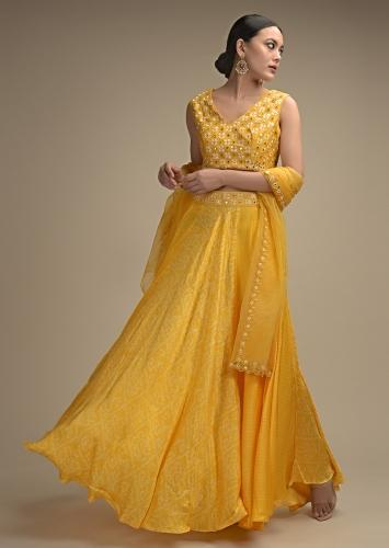 Daffodil Yellow Skirt In Satin Blend With Bandhani Print And Abla Embroidered Crop Top Online - Kalki Fashion